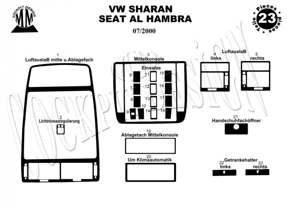 vw sharan mk1 dash trim kit 3m 3d 24