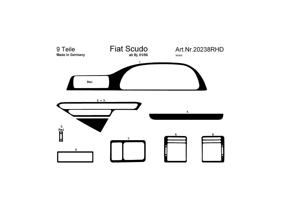 rhd fiat scudo mk1 dash trim kit 3m 3d 9