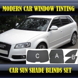 Stores rideaux pare-soleil sur mesure pour Audi A3 8P 2003-2013 3 fenêtres+2 quarters 20 supports