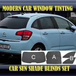 Stores rideaux pare-soleil sur mesure pour Citroen C3 Mk2 2009-2013 3 fenêtres+2 quarters 10metal, 8supports