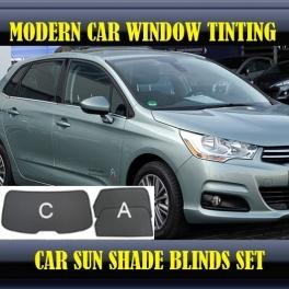Stores rideaux pare-soleil sur mesure pour Citroen C4 Mk2 2010-2013 3 fenêtres 8 metal,12 supports