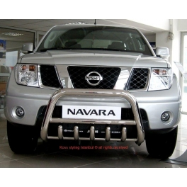 NISSAN Navara D40 Front High Bull-Bar With Lower Grille and Logo FGBH02