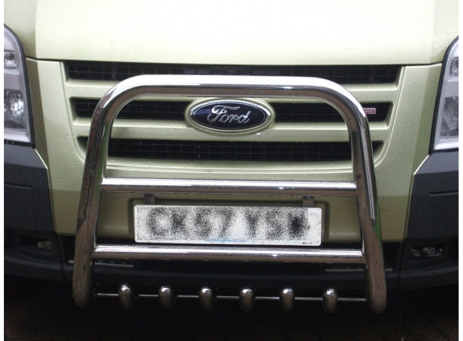 Ford Transit Mk7 Front High Bull Bar With Lower Grille And