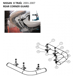 NISSAN X-TRAIL Mk1 T30 Rear Corner Bars RCB01